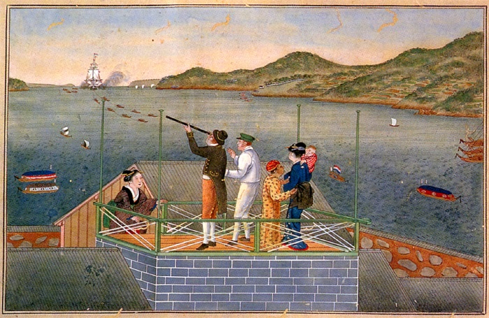rangaku_Dutch_trader_watching_an_incoming_VOC_ship_at_Dejima_by_Kawahara_Keiga