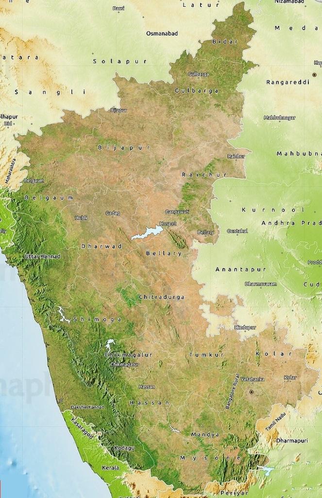 Satellite map of Karnataka, physical outside.