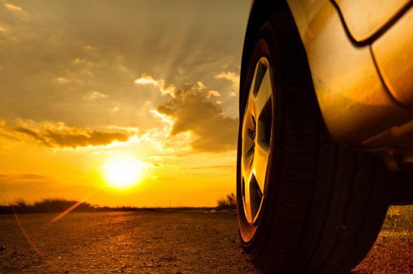 Car against sunset