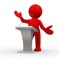 3d human give a lecture behind a podium